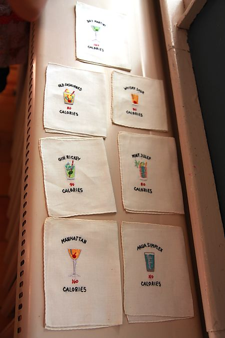 Vintage cocktail napkins with calorie count